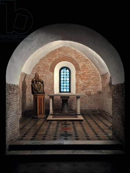 View of the First Chapel of the Church of Saints Vincent and Anastasius, 625-1221 Abbey of Tre Fontane (Abbey of Tre-Fontane or Abbey of the Three Fountains) near Rome Italy (View of the first chapel of church of sts Vincent and Anastasius, 625-1221 Tre Fontane Abbey, Italy)