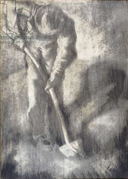 Man with Spade, 1952 (oil on paper)