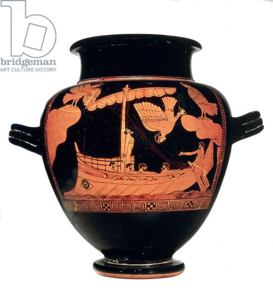 Black stamnos vase with red figures depicting Ulysses on his ship resistant to the singing of sirenes (Homere's Odyssee). Painting of the Sirenes. 480-470 BC