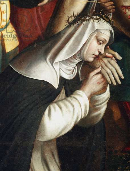 La deposition Detail representant saint Catherine of Siena - (Detail of the deposition showing st Catherine of Siena) Painting by Giovanni Battista Secco dit il Caravaggino (active 1572-1625) 1616 Chapel of Santa Corona, Basilica di Santa Maria delle Grazie Milan Italy
