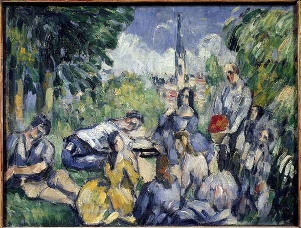 The breakfast on the grass - Painting by Paul Cezanne (1839-1906), oil on canvas, 21x27 cm, 1875. Paris, Musee de l'Orangerie