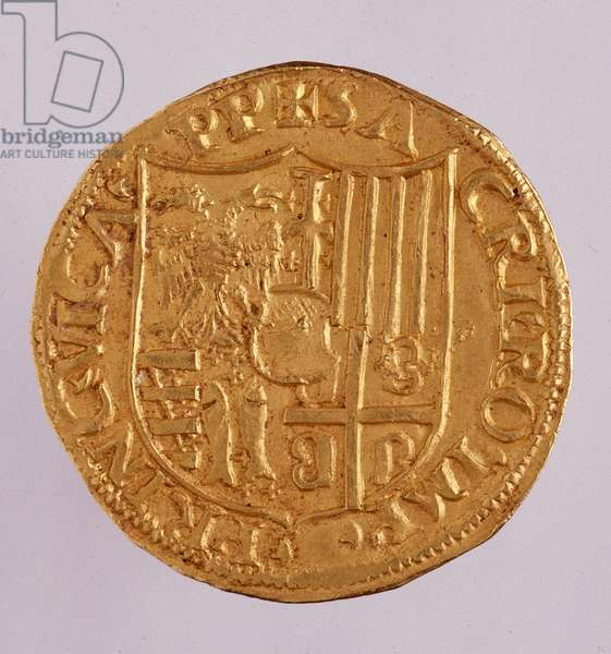 Medieval coins: golden double ducat from Casale monferrato: reign of Guglielmo IX del Monferrato (1486-1518) (William IX, Marquess of Montferrat or Guglielmo IX Paleologo or Guillaume IX Paleologue). 1494 Diam. 3 cm Naples, museo archeologico