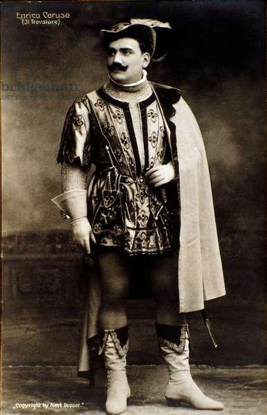 The singer Enrico Caruso in the opera Il trovatore by Giuseppe verdi (b/w photo)