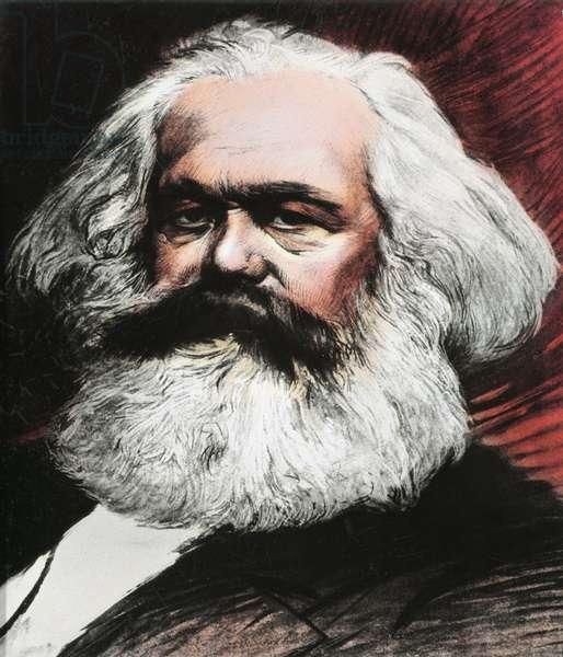 Portrait of Karl Marx, German philosopher, economist and revolutionary (Engraving, 19th century)