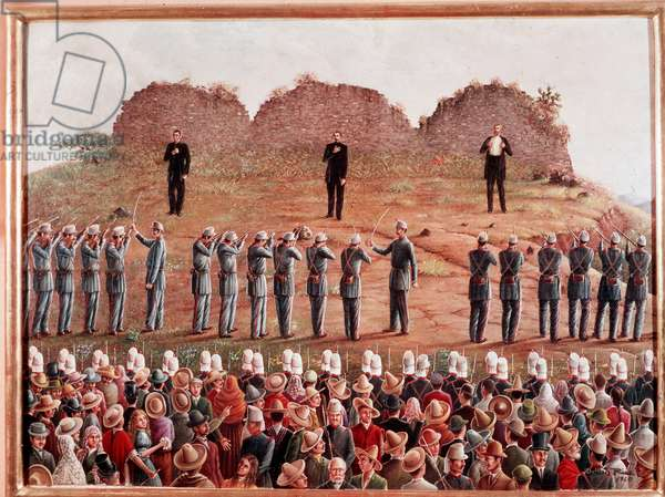 The execution of Emperor Maximilian I of Mexico on 14/06/1867 Painting by Odilon Rios 1960 Mexico City, National Historical Museum Attention! The use of this work may be subject to a request for authorization to a third party or to the payment of additional fees