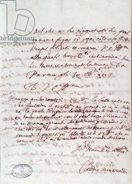 Letter handwritten by Claudio Monteverdi (1567-1643) - Bologna, Museo Museo Museo