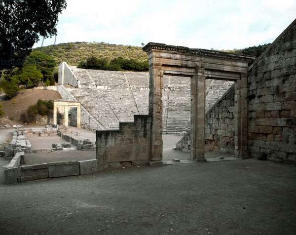 View of the double door overlooking the front stage and the parodos, ancient theater of Epidaurus (or theater of Argolide), 5th or 4th century BC (photography)