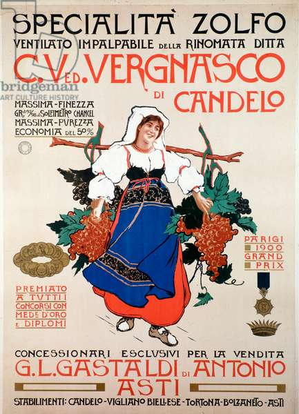 Poster for ventile sulfur, fungicide used in agriculture, establishments Vergnasco di Candelo, Italy, 20th century - Advertising poster for the fungicide winnowed sulphur produced by italian company Vergnasco Candelo, 20th Century - Private collection
