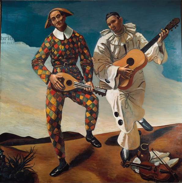 "Commedia dell'Arte: """" Harlequin and Pierrot """" Painting by Andre Derain (1880-1954) 1924 Sun. 1,75x1,75 m Paris, Musee de l'Orangerie"