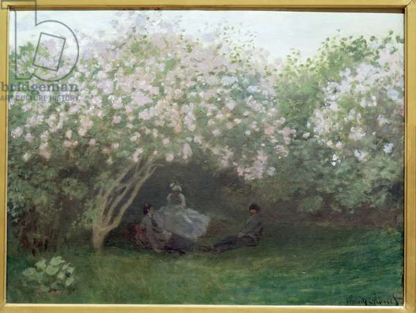 "Lilac, grey weather or """" The rest under the lilac"""" Jardin de Monet a Argenteuil - Painting by Claude Monet (1840-1926), 1872-1873 Dim 50x65 cm Musee d'Orsay Paris"