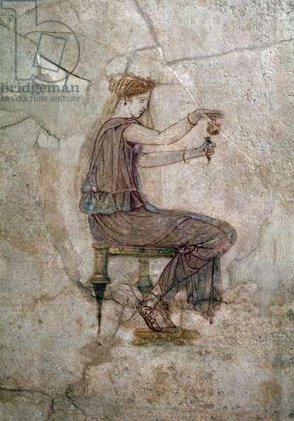 Roman art: woman sitting pouring perfume in a vase Wall painting, 25 AD From Villa della Farnesina (Roman art: woman poured perfume in a vase, from Casa della Farnesina, 25 AD) Rome, Palazzo Massimo alle Terme, Museo Nazionale Romano