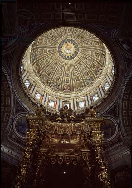 Interior view of the dome of St. Peter's Basilica, designed principally by Donato Bramante, Michelangelo, Carlo Maderno and Gian Lorenzo Bernini, 1506-85, Rome, Italy