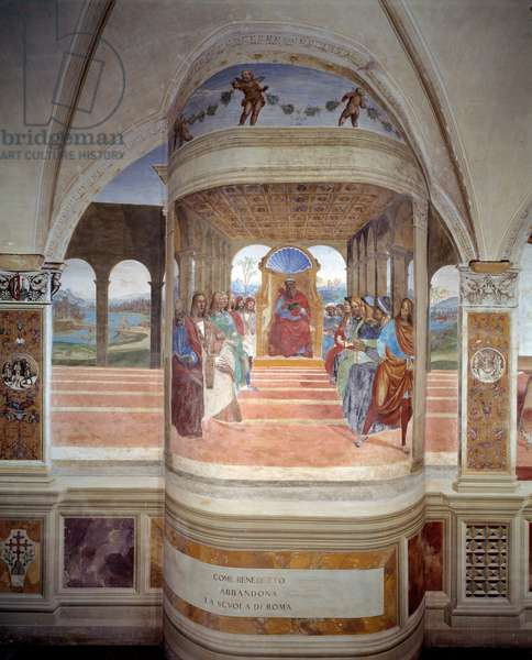 St Benedict leaves the school of Rome fresco of the cloister produced by Antonio Bazzi dit il Sodoma (1477 - 1549) recounting the life of Saint Benedict of Nursie (480 - 567) founder of the Order of Benedictine 1503 - 1508 Abbey of Monte Oliveto Maggiore, Florence