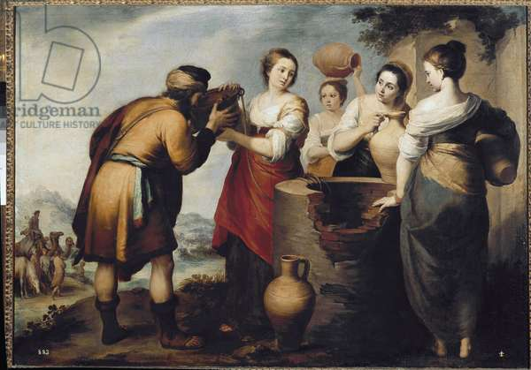 Rebecca and Eliezer at the Well (Rebecca and Eleazar at the Well). Painting by Bartolome Esteban Murillo (1618-1682), oil on canvas, 1665, 107x171 cm. Madrid, Museo del Prado
