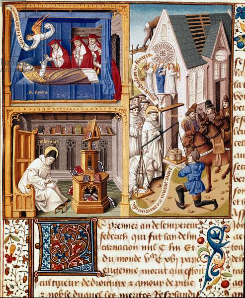 """Pope Eugene III died in 1153. Saint Bernard of Clairvaux (San Bernardo di Chiaravalle) (1090-1153). Armes de Jacques d'Armagnac, Duke of Nemours Miniature in """""""" Le miroir historial"""""""" (Speculum Historiale) (ms. 1196) by Vincent de Beauvais (1190-1264) translated into French by Jean de Vignay, 15th century. Chantilly, Musee Conde"""