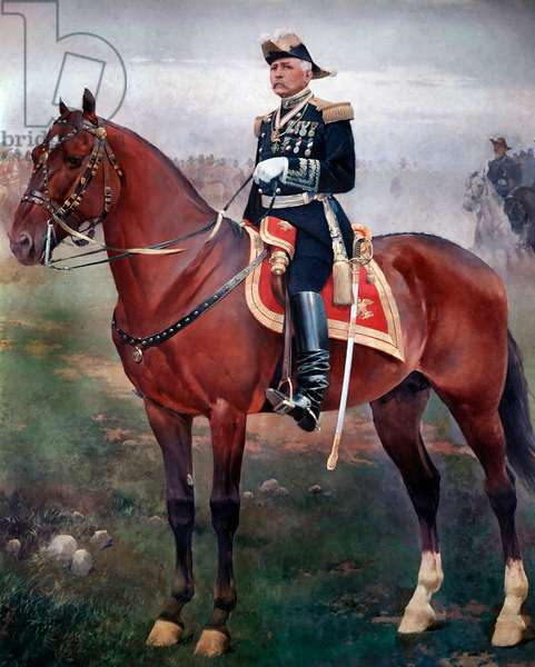 Equestrian portrait of Porfirio Diaz (1828-1915), Revolutionary and Mexican President Painting by Jose Cusachs (1851-1908) Mexico City, National Museum of History, Chapultepec Castle
