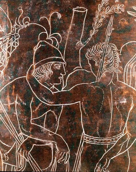 Etruscan art: detail of the bronze Ficoroni Cistus representing the legend of the Argonauts. From Preneste (Palestrina). 340 BC. Museo Nazionale di Villa Giulia, Rome