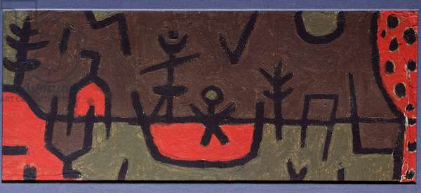 Pond in a Park Painting by Paul Klee (1879-1940) 1938 Dim 27x53 cm Private collection