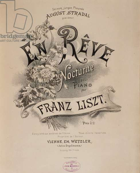 "Frontispice of the score """" En reve"""" by Franz Liszt (1811-1886) 19th century Bologna, civico museo musicale"