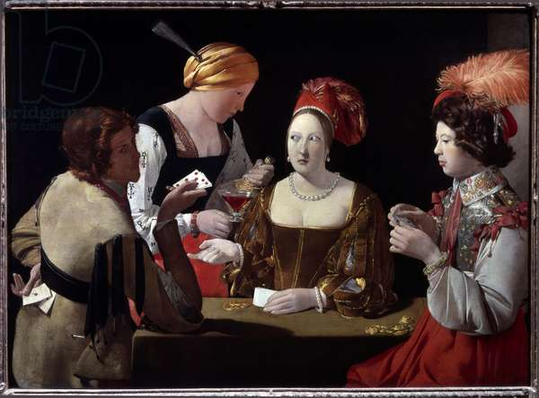 The Cheat with the Ace of Diamonds Painting by Georges de La Tour (1593-1652), 1635 Dim 107x146 cm Paris musee du Louvre