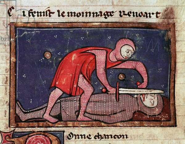 "William V of Poitiers called the Great (960-1030) cuts the tongue of his enemy Count Boson II of the Marche (988-1008) in 1008 Miniature taken from ""The moinage of William"""" (ms. 1025) 13th century Milan, Biblioteca Trivulziana"