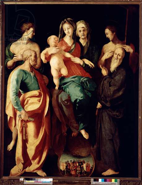 Virgin with child with st Anne and four saints Saint Sebastian, Peter, Benoit of Nursie and the Good Thief (also called Saint Dismas (or Dysmas, Dimas, Dumas) Painting by Jacopo (Iacopo) da Carucci dit Pontormo (Pontormo) (1494-1556) 1529 Dim 2,2x1,76 m Paris the Louvre