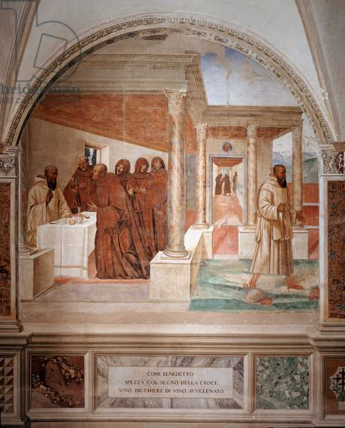 Benedict breaks a glass of poisoned wine making the sign of the cross fresco of the cloitre made by Antonio Bazzi dit il Sodoma (1477 - 1549) recounting the life of Saint Benedict of Nursie (480 - 567) founder of the Order of Benedictine 1503 - 1508 Abbey of Monte Oliveto Maggiore, Florence