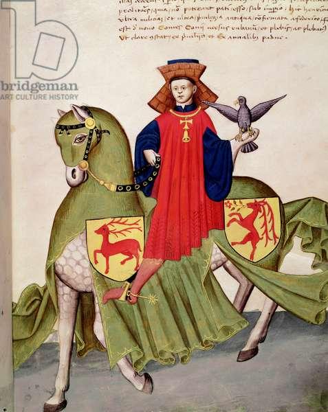 A falconer on his horse (miniature, 1434)