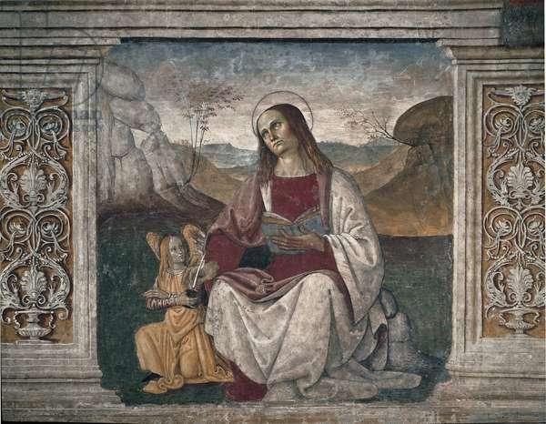 Representation of Saint Mathieu (Matthew) the evangelist Fresco of the school of Pietro di Cristoforo Vannucci dit Le Perugin (circa 1448-1523). 16th century Sala del Capitolo Vecchio. Monastery of Saint Benedetto (Sacro Speco), Subiaco (Rome), Italy