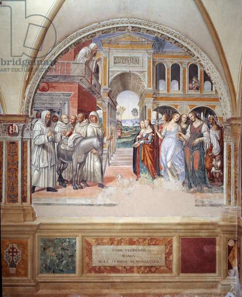 How Fiorenzo sends prostitutes at the monastery (How Fiorenzo sends prostitutes at the monastery) - fresco of the cloister made by Antonio Bazzi dit il Sodoma (1477 - 1549) recounting the life of Saint Benedict of Nursia (480 - 567) founder of the Order of Benedictine 1503 - 1508 Abbey of Monte Oliveto Maggiore, Florence