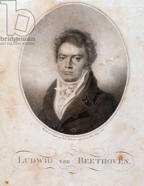 Portrait of german composer Ludwig van Beethoven (1770-1827) Engraving. 19th century. Bologna, Civico Museo Bibliografico Musicale