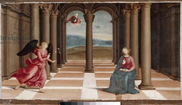 The Annunciation, Predella of the Oddi Altarpiece, 1502-03 (oil on wood)