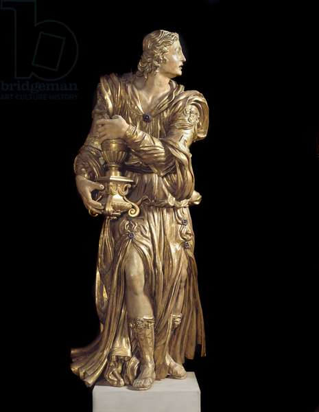 View of one of the wooden angels in the chapel of Bardi di Vernio (A gilded wooden angel) 14th century Florence, Basilica Santa Croce, Italy