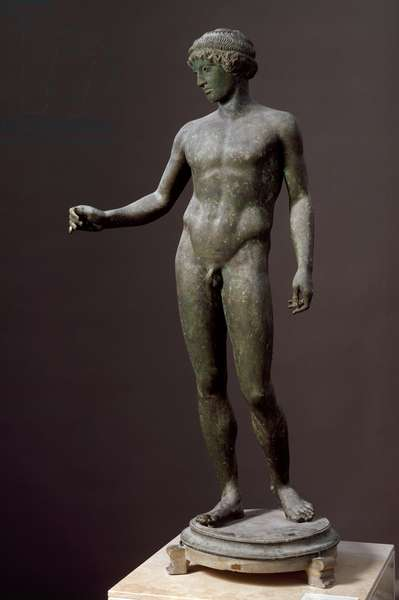 "Roman Art: """" Ephebe"""" Bronze sculpture after a Greek original, From Pompei, 1st century AD, Dim. 149 cm - Naples, Museo Archeologico Nazionale - Ephebe - Bronze sculpture (H.149 cm), Roman copy after Greek original, from Pompeii, Italy, 1rst century AD - Museo Archeologico Nazionale, Naples, Y"