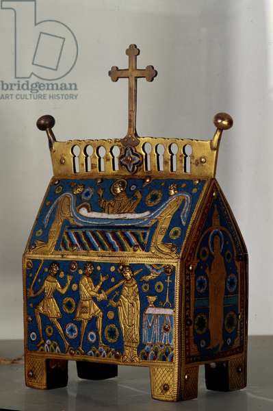 Art object: reliquary in enamel, gold and copper by Saint Thomas Becket (1118-1170), archbishop of Canterbury. It is decoree of representations of the assassination of the Archeveque on 29/12/1170 in the Cathedrale of Cantorbery and its funeral. 13th century Anagni, Museo della Cattedrale