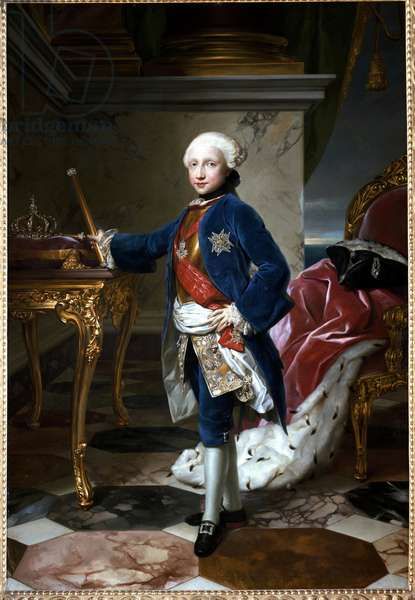 Portrait of Ferdinand I of Bourbon or Ferdinand IV (1751-1825), King of Naples, at the age of nine Painting by Anton Raphael Mengs (1728-1779) 1760 Dim. 180x126 cm Naples, Museum of Capodimonte inv. Q 207
