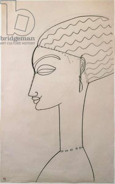 Profilo di donna. Female profile. Drawing by Amedeo Modigliani (1884-1920), 1910-1911. New York, Museum of Modern Art