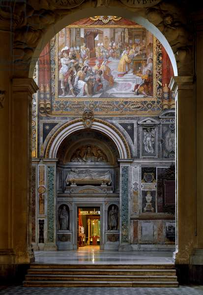 View of the monument dedicated to Pope Innocent III (1160-1216) realized by Giuseppe Lucchetti (1823-1907), 1861. Basilica of St. John of Laterano (San Giovanni in Laterano), Rome
