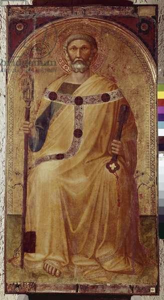 Saint Peter. Painting by Ambrogio Lorenzetti (1290-1348). Painting on wood. Roccalbegna (Grosseto), Chiesa dei Santi Pietro e Paolo