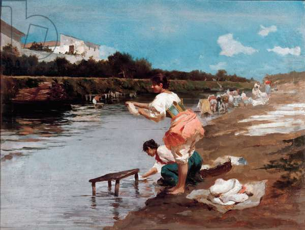 Laundresses on the river Painting by Alberto Issel (1848-1926) Genes, private collection