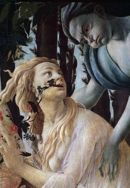Le printemps (The spring or La primavera) Detail - Zephyr seizing at flight Chloris (Flora) wearing a transparent veil - Painting by Alessandro di Mariano dei Filipepi dit Sandro Botticelli (1445-1510) 1477-1478 Dim: 203x314 cm Florence, Galerie Des Uffizi (Uffizi)