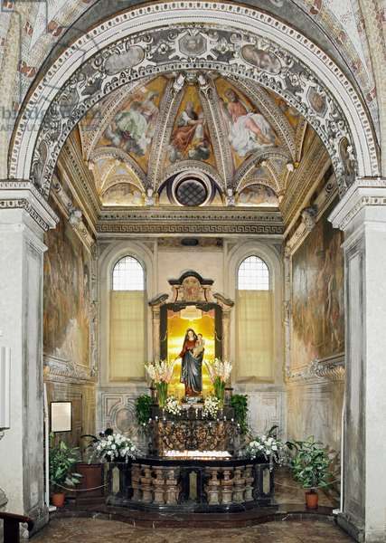 View of the Chapel of the Virgin of the Rosary and the Statue of the Virgin - 1429-1481 (View of the chapel of the Virgin of the Rosary) Milan, Basilica di Santa Maria delle Grazie Italy