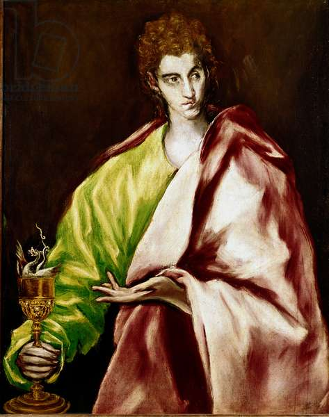 The Apotra Saint John the Evangelist Painting by Domenikos Theotokopoulos dit El Greco (1540-1614), 1610-1614. Oil on canvas. Dim: 97x77cm. House and Musee El Greco, Toledo, Spain.