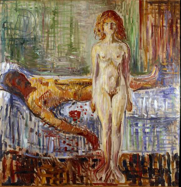The Death of Marat II Painting by Edvard Munch (1863-1944), 1907 Sun. 152x149 cm Oslo, Kommunes Kunstsamlinger Munch-Museet (Musee Munch)