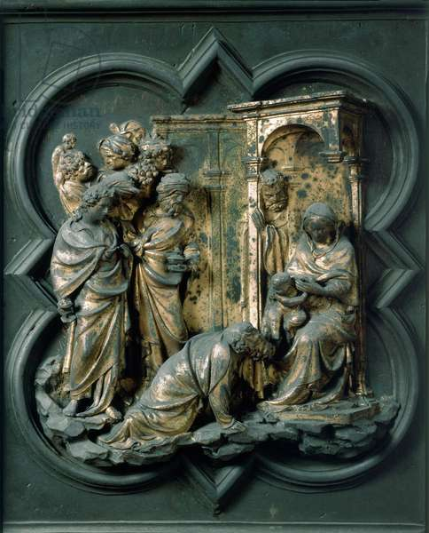 North Porte (called Gate of the Cross, to the North), exterior detail: Adoration of the Magi. Bronze sculpture made by Lorenzo Ghiberti (1378-1455), 1424. Baptistere San Giovanni, Florence