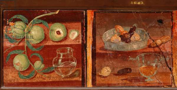 "Roman Art: """" Still life of peaches and dried fruit"""" Roman fresco from Pompei. 1st century BC-1st century AD. Preserve at the National Archaeological Museum of Naples. Italy"