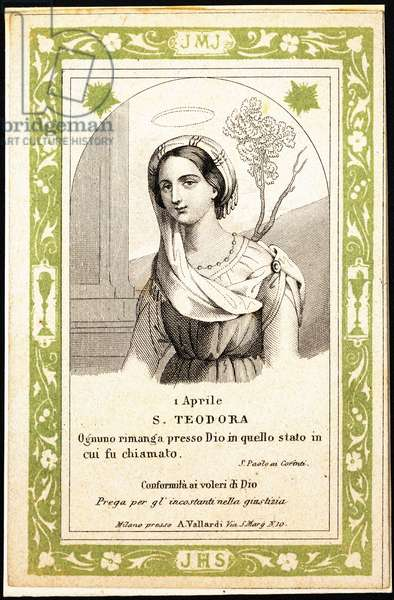 Postcard depicting St. Theodora, early 20th century (colour litho)