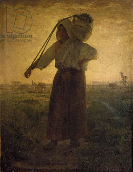 The Return of the Fields Painting by Jean Francois Millet (1814-1875) 1850 approx. Dim. 42x33 cm Milan, Galleria d'Arte Moderna