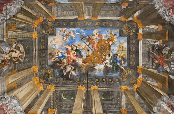 The Chariot of the Sun, ceiling of the Hall of the Time Carro, 1655-59 (fresco)