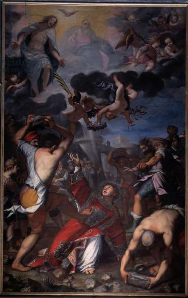 Martyrdom of St. Stephen Above the scene, Representation of the Holy Trinity: God, Jesus Christ and the Dove of the Holy Spirit (Holy Spirit) (Martyrdom of St Stephen) Painting by Giovanni Battista Paggi (1554-1627) Genes, Church of Saints Andrea e Ambrogio Italy